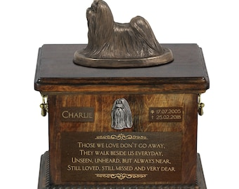 Shih Tzu - Exclusive Urn for dog ashes with a statue, relief and inscription. ART-DOG. Cremation box, Custom urn.