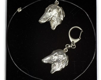 NEW, Azawakh, dog keyring and necklace in casket, ELEGANCE set, limited edition, ArtDog . Dog keyring for dog lovers