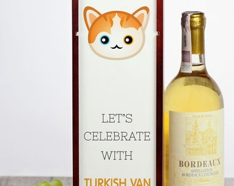 Let's celebrate with Turkish Van cat. A wine box with the cute Art-Dog cat