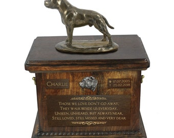 English Staffordshire Terrier - Exclusive Urn for dog ashes with a statue, relief and inscription. ART-DOG. Cremation box, Custom urn.