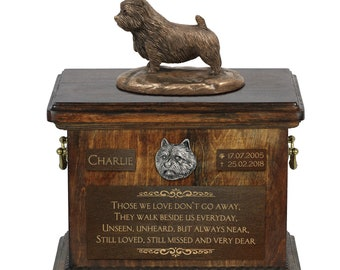 Norwich Terrier - Exclusive Urn for dog ashes with a statue, relief and inscription. ART-DOG. Cremation box, Custom urn.