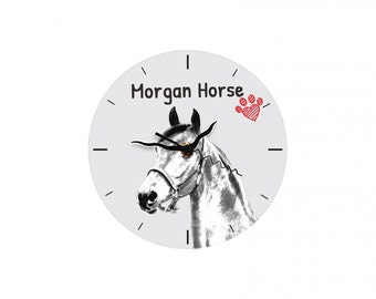Morgan horse, Free standing MDF floor clock with an image of a horse.