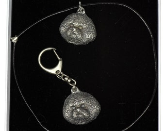 NEW, Bichon, dog keyring and necklace in casket, ELEGANCE set, limited edition, ArtDog . Dog keyring for dog lovers