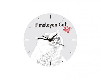 Himalayan cat, Free standing MDF floor clock with an image of a cat.