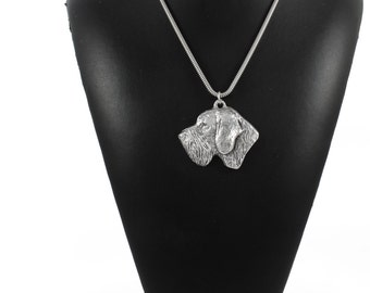 NEW, German Wirehaired Pointer, dog necklace, silver cord 925, limited edition, ArtDog