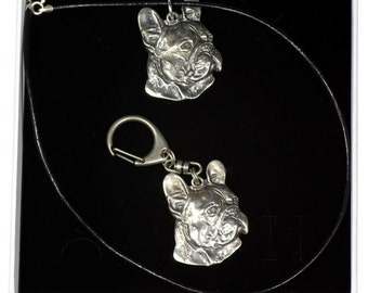 NEW, French Bulldog (right-oriented) , dog keyring and necklace in casket, ELEGANCE set, limited edition, ArtDog