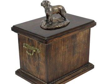 Urn for dog's ashes with a Labrador Retriever statue, ART-DOG Cremation box, Custom urn.