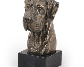 Great Dane (uncropped), dog marble statue, limited edition, ArtDog. Made of cold cast bronze. Perfect gift. Limited edition