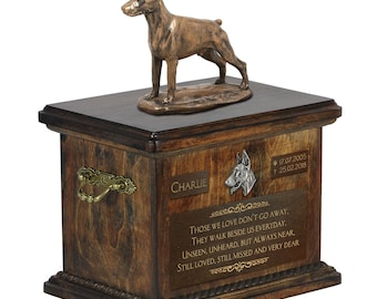 Dobermann cropped - Exclusive Urn for dog ashes with a statue, relief and inscription. ART-DOG. Cremation box, Custom urn.