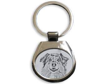 Australian Shepherd - NEW collection of keyrings with images of purebred dogs, unique gift, sublimation . Dog keyring for dog lovers