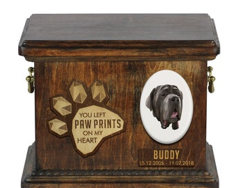 Urn for dog ashes with ceramic plate and sentence - Geometric Neapolitan Mastiff, ART-DOG. Cremation box, Custom urn.