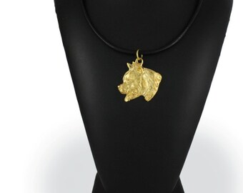 American Staffordshire Terrier (with collar), millesimal fineness 999, dog necklace, limited edition, ArtDog