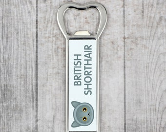 A beer bottle opener with a British Shorthair cat. A new collection with the cute Art-Dog cat