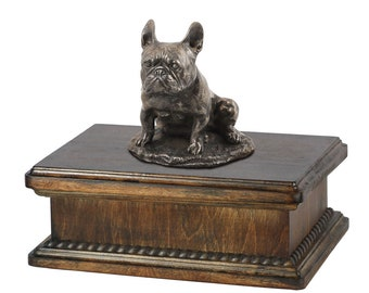 Exclusive Urn for dog's ashes with a French Bulldog sitting statue, ART-DOG. New model Cremation box, Custom urn.