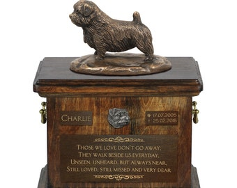 Norfolk Terrier - Exclusive Urn for dog ashes with a statue, relief and inscription. ART-DOG. Cremation box, Custom urn.