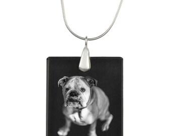 Bulldog, English Bulldog, Dog Crystal Pendant, SIlver Necklace 925, High Quality, Exceptional Gift, Collection!