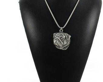 NEW, Pug, dog necklace, silver cord 925, limited edition, ArtDog