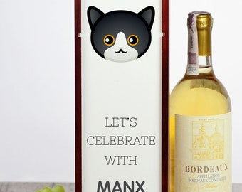 Let's celebrate with Manx cat. A wine box with the cute Art-Dog cat