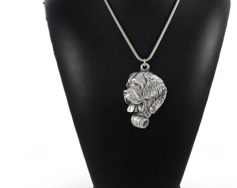 NEW, Saint Bernard, dog necklace, silver cord 925, limited edition, ArtDog