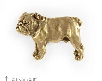 English Bulldog (body), millesimal fineness 999, dog pin, limited edition, ArtDog