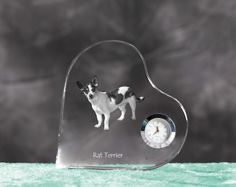 Rat Terrier- crystal clock in the shape of a heart with the image of a pure-bred dog.