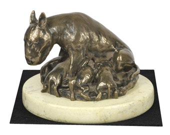 Bull Terrier , dog sand marble base statue, limited edition, ArtDog. Made of cold cast bronze. Perfect gift. Limited edition