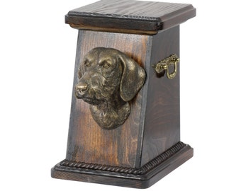 Urn for dog's ashes with a Dachshund wirehaired statue, ART-DOG Cremation box, Custom urn. Cremation box, Custom urn.