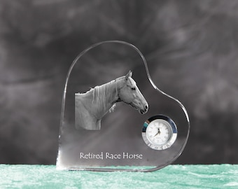 Retired Race Horse- crystal clock in the shape of a heart with the image of a pure-bred horse.
