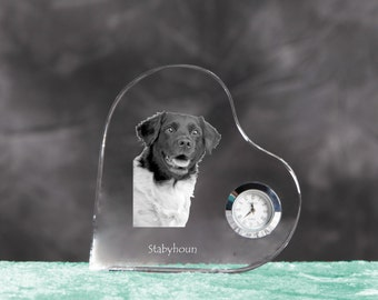 Stabyhoun- crystal clock in the shape of a heart with the image of a pure-bred dog.