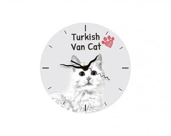 Turkish Van, Free standing MDF floor clock with an image of a cat.