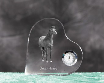 Arabian, Arab horse - crystal clock in the shape of a heart with the image of a pure-bred horse.