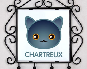 A key rack, hangers with Chartreux cat. A new collection with the cute Art-dog cat