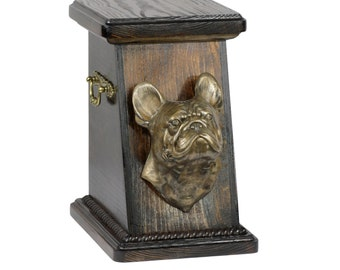 Urn for dog's ashes with a French Bulldog statue, ART-DOG Cremation box, Custom urn. Cremation box, Custom urn.
