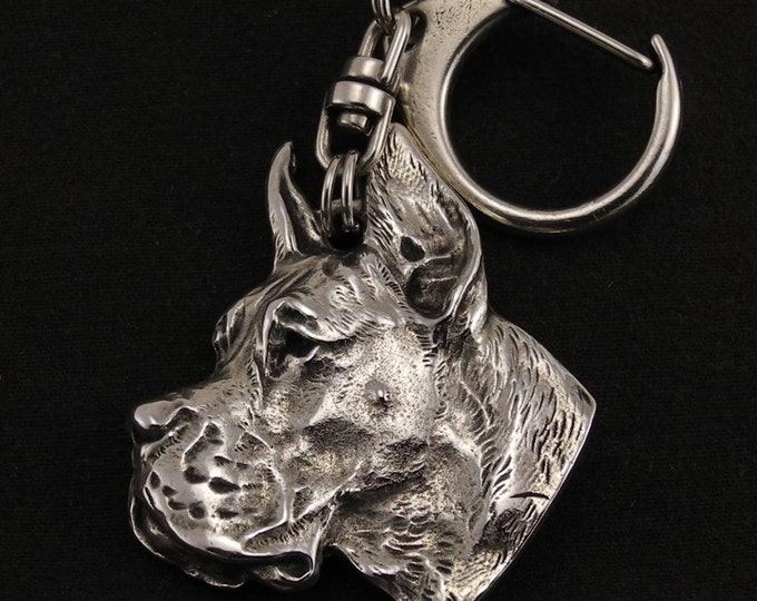 Featured listing image: Deutsche Dogge cropped, Great Dane (pointed ears), dog keyring, keychain, limited edition, ArtDog . Dog keyring for dog lovers
