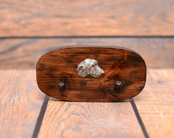 Irish Wolfhound - Unique wooden hanger with a relief  of a purebred dog. Perfect for a collar, harness or leash.