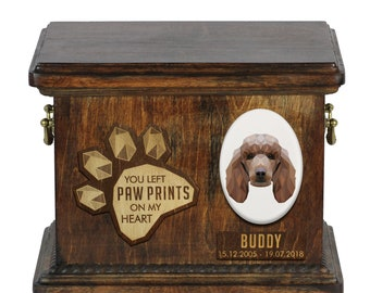 Urn for dog ashes with ceramic plate and sentence - Geometric Poodle, ART-DOG. Cremation box, Custom urn.