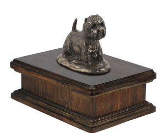 Exclusive Urn for dog's ashes with a West Highland White Terrier statue, ART-DOG. New model Cremation box, Custom urn.
