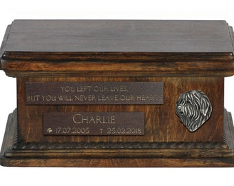 Urn for dog's ashes with relief and sentence with your dog name and date - Polish Lowland Sheepdog, ART-DOG. Low model.