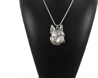 NEW, Boston Terrier,  Boston Bull, American Gentlemen, dog necklace, silver cord 925, limited edition, ArtDog