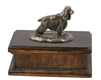Exclusive Urn for dog's ashes with a English Cocker Spaniel statue, ART-DOG. New model Cremation box, Custom urn.