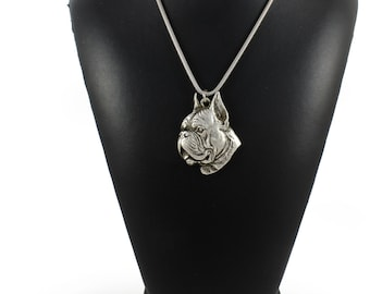 NEW, Boxer (toungue&pointed ears), dog necklace, silver cord 925, limited edition, ArtDog