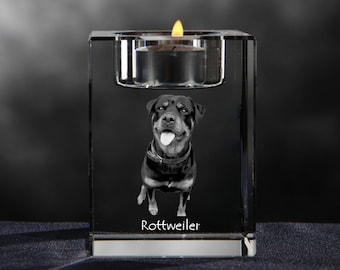 Rottweiler, crystal candlestick with dog, souvenir, decoration, limited edition, Collection