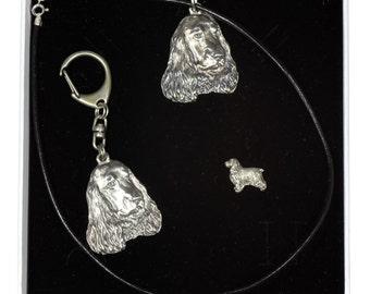 NEW, English Cocker Spaniel, dog keyring, necklace and pin in casket, ELEGANCE set, limited edition, ArtDog . Dog keyring for dog lovers