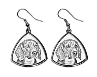 Beagle, collection of earrings with images of purebred dogs, unique gift