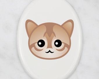 A ceramic tombstone plaque with a Singapura cat. Art-Dog cute cat