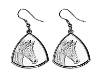 Freiberger, collection of earrings with images of purebred horses, unique gift. Collection!