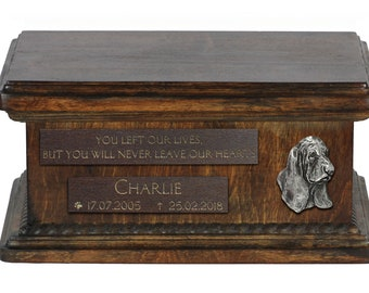 Urn for dog's ashes with relief and sentence with your dog name and date - Basset Hound, ART-DOG. Low model. Cremation box, Custom urn.