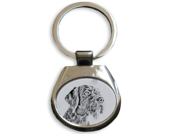 German Wirehaired Pointer - NEW collection of keyrings with images of purebred dogs, unique gift, sublimation . Dog keyring for dog lovers