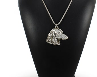 NEW, Teckel, Dachshund longhaired, dog necklace, silver cord 925, limited edition, ArtDog
