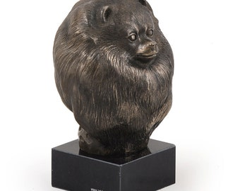 Pomeranian, dog marble statue, limited edition, ArtDog. Made of cold cast bronze. Perfect gift. Limited edition